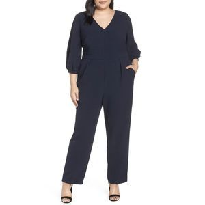 Bubble Sleeve Crepe Jumpsuit 18W